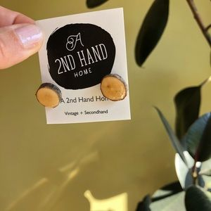 Wood Cut Tiny Disc Earrings